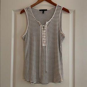 WHBM white/black striped sleeveless blouse